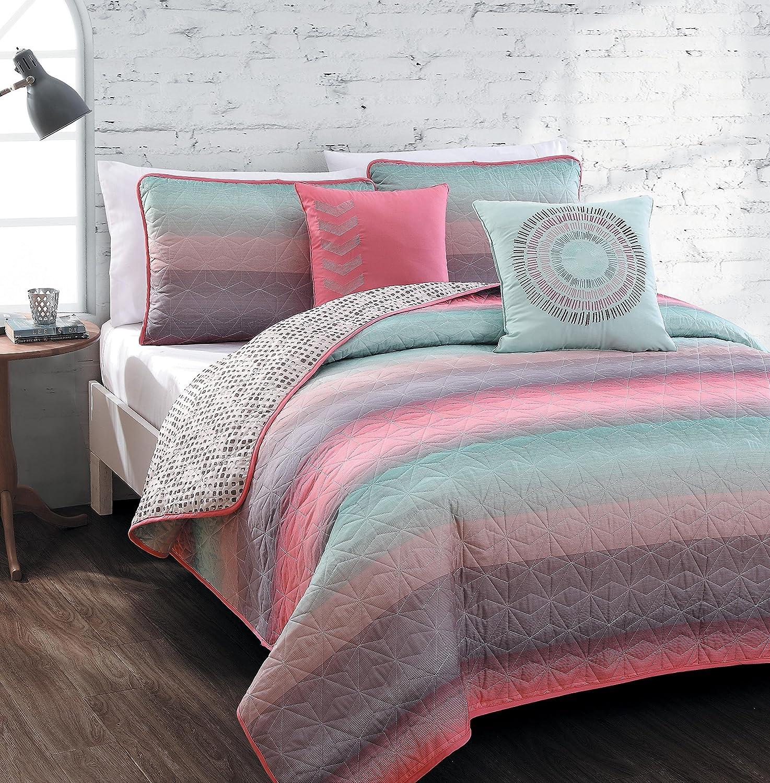 Amazon.com: Avondale Manor 5 Piece Cypress Quilt Set, Queen, Coral/Blue:  Home U0026 Kitchen