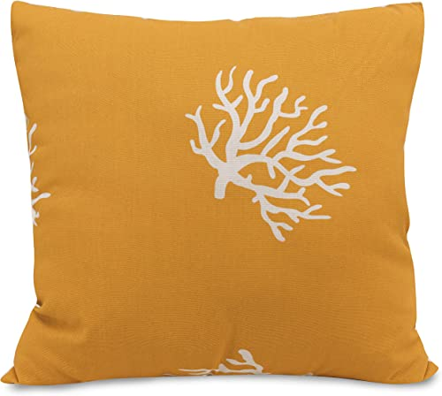 Majestic Home Goods Yellow Coral Indoor Outdoor Large Pillow 20 L x 8 W x 20 H