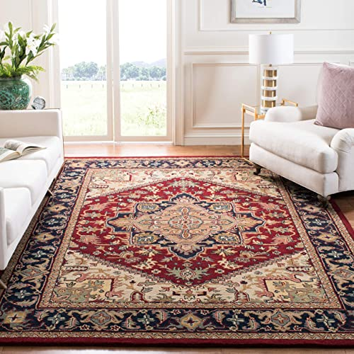Safavieh Heritage Collection HG625A Handcrafted Traditional Oriental Heriz Medallion Red Wool Area Rug 8 x 10