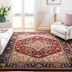 Amazon Com Safavieh Heritage Collection Hg625a Handmade Traditional Oriental Premium Wool Area Rug 8 X 10 Red Furniture Decor