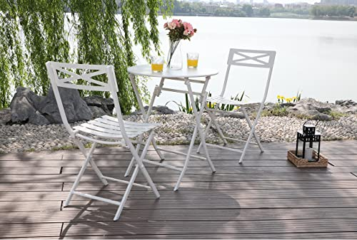 PHI VILLA White 3 Pcs Outdoor Patio Metal Folding Dining Bistro Set with 23.6 Table and 2 x Chairs Furniture Set
