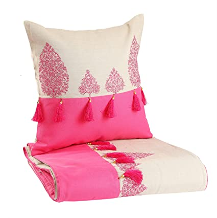 MGB Pink butti Bed runner and cushion set