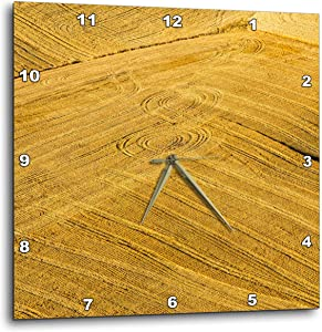 3dRose Aerial of Harvest in The Rolling Hills of The Palouse Region, WA - Wall Clocks (DPP_333016_2)