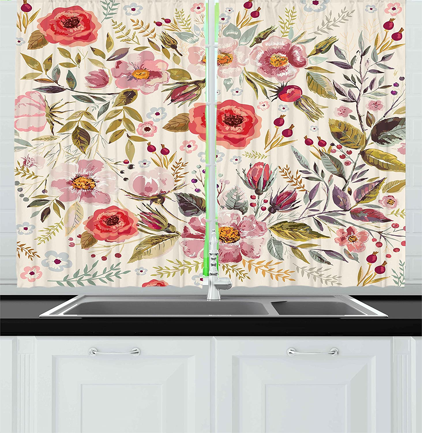 Ambesonne Shabby Flora Kitchen Curtains, Watercolor Abstract Spring Poppies Flowers Roses Buds Leaves Romantic Print, Window Drapes 2 Panel Set for Kitchen Cafe Decor, 55