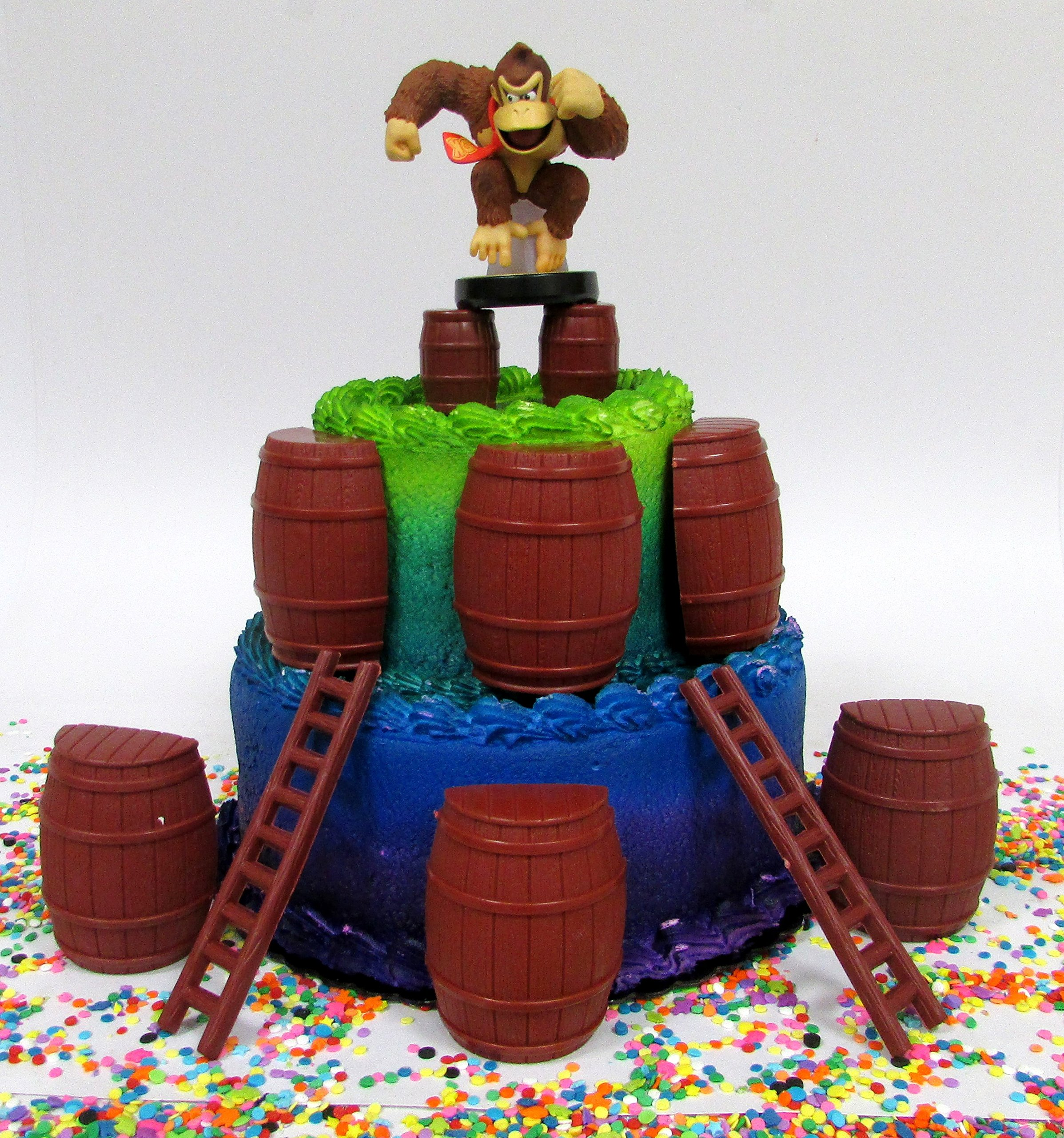 Video Game Icon DONKEY KONG Birthday Cake Topper Set Featuring Donkey Kong Figures and Decorative Themed Accessories
