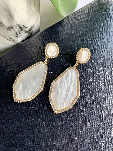 Natural Abalone Dangle Earrings Mother of Pearl Earrings  Ivory Statement Earrings  Glowing White and Gold Dangle EarringsGifts for Her