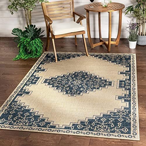 Well Woven Siare Blue Beige Indoor Outdoor Flat Weave Pile Oriental Medallion Pattern Area Rug 8×10 7 10 x 9 10