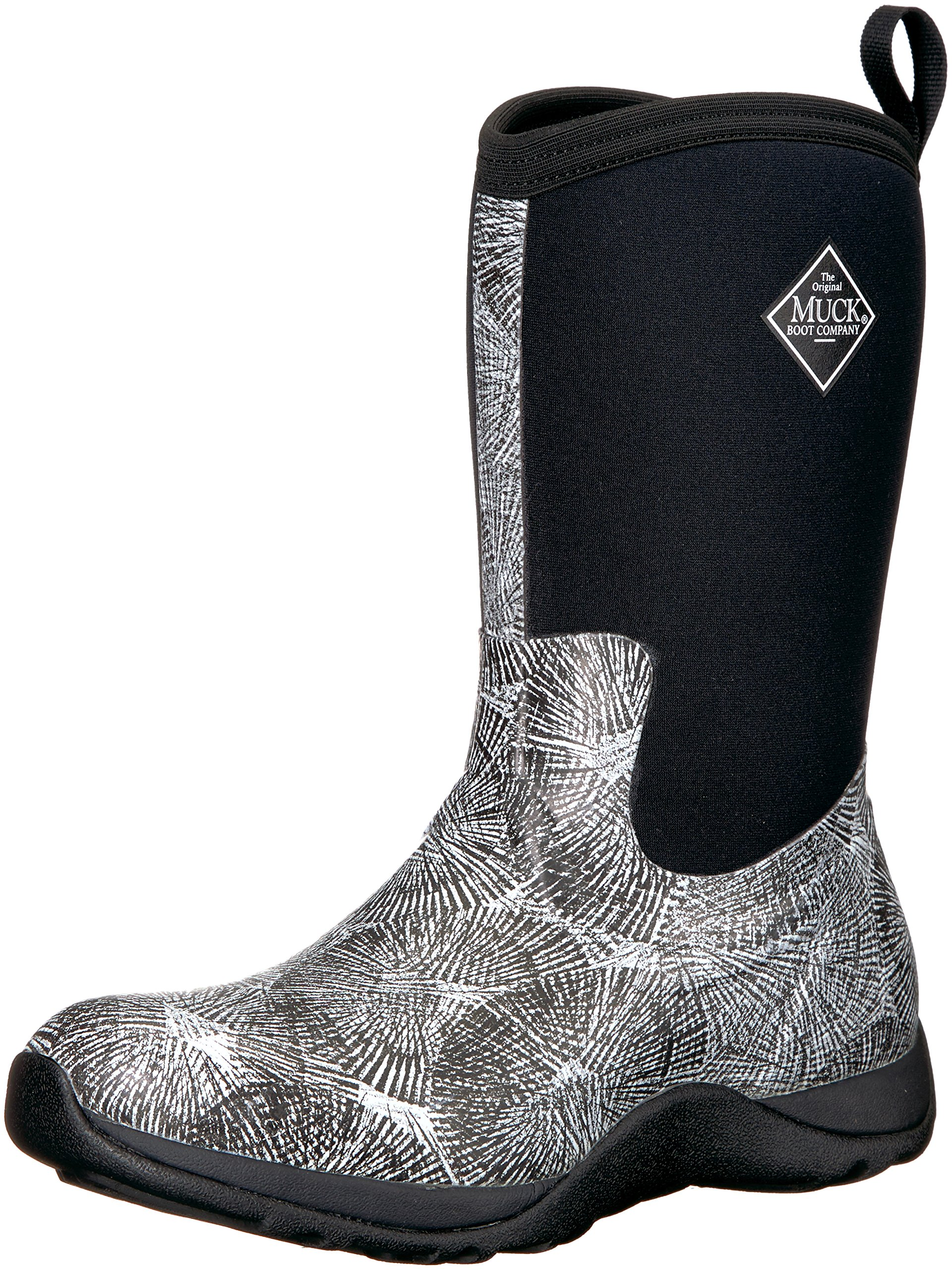 Muck Boot Women's Arctic Weekend Print Work Boot, Black, White/Spiral, 8 M US