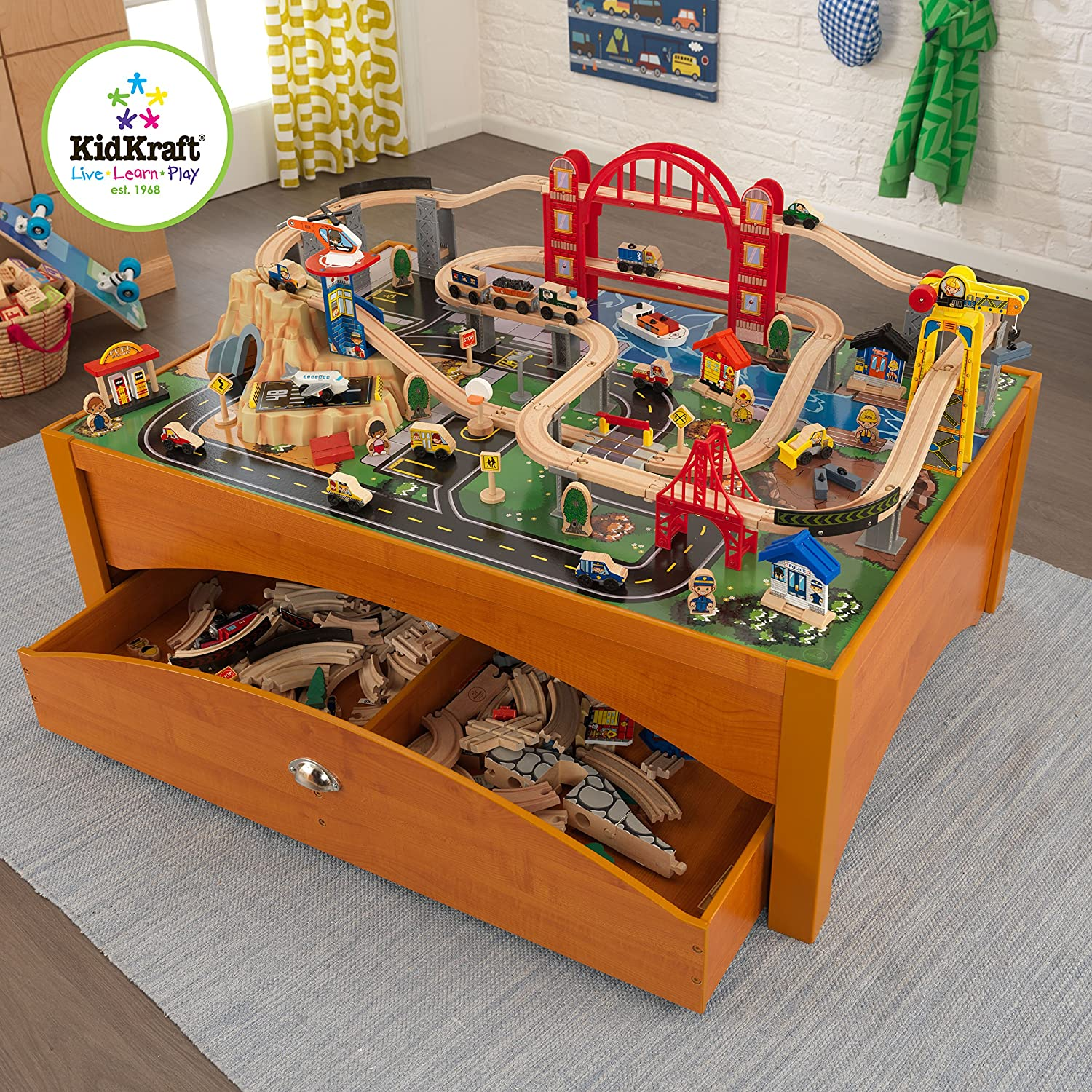 Amazon.com: KidKraft Metropolis Train Set And Honey Table Train: Toys U0026  Games