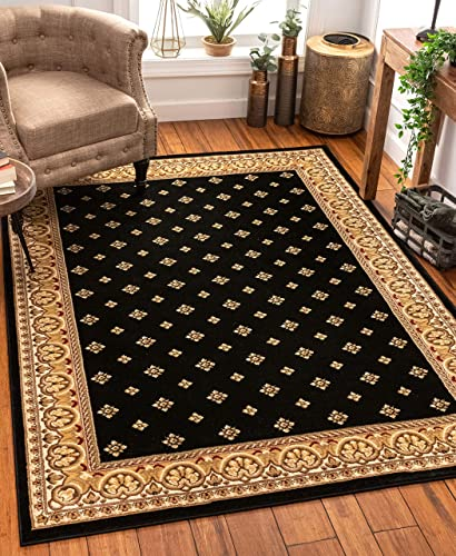 Noble Palace Black French European Formal Traditional Area Rug 8×10 8×11 7 10 x 9 10 Easy to Clean Stain Fade Resistant Shed Free Modern Contemporary Floral Transitional Soft Living Dining Room