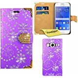 Galaxy Ace 4 Case, FoneExpert® Bling Luxury Diamond Leather Wallet Book Case Cover For Samsung Galaxy Ace 4 (SM-G357 / G357FZ) + Screen Protector & Cloth (Purple)