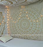 """""""New Launched"""" Popular Gold Elephant Tapestry Indian Mandala Wall Art Hippie Wall Hanging Bohemian Bedspread With Metallic Shine tapestries 84x90 Inches,(215x230cms) Exclusively By Popular Handicrafts"""