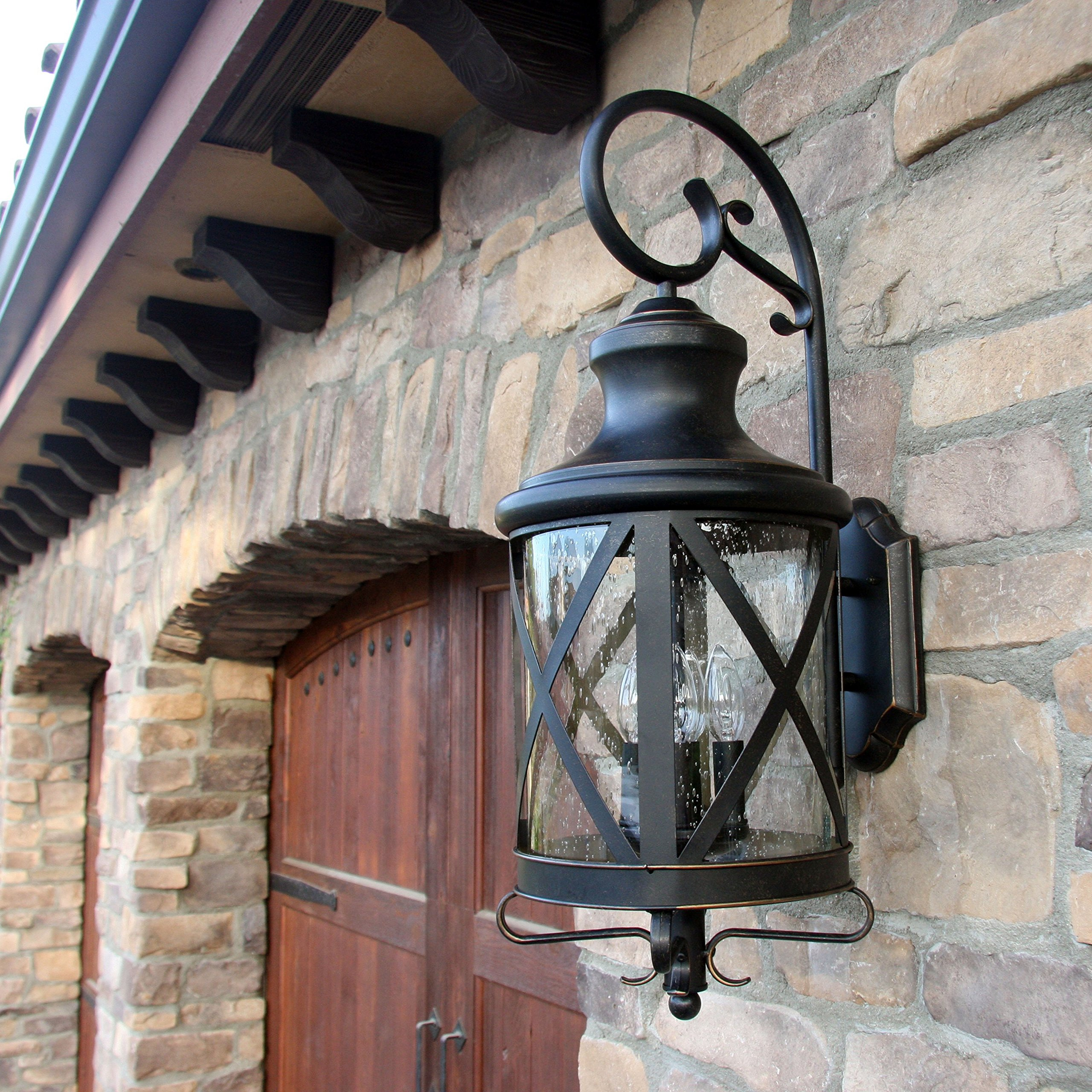 Y Decor EL543OR-S Modern, Transitional, Traditional 2 Light Exterior Outdoor Wall Scone Fixture Oil Rubbed Bronze with Clear Seedy Glass Small, Oil Rubbed Bronze, Brown
