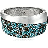 "Kenneth Cole New York ""Pebble Beach"" Silver-Tone Mixed Faceted-Bead Wide Hinged Bangle Bracelet"