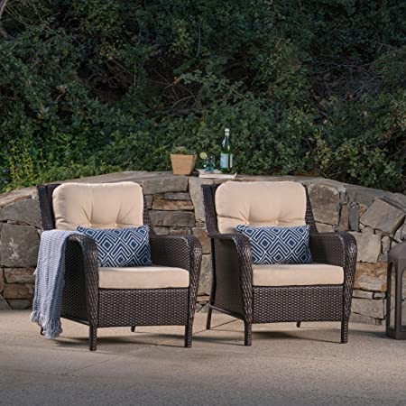 Christopher Knight Home Brighton Outdoor Multibrown Wicker Club Chairs with Tan Water Resistant Cushions Set of 2