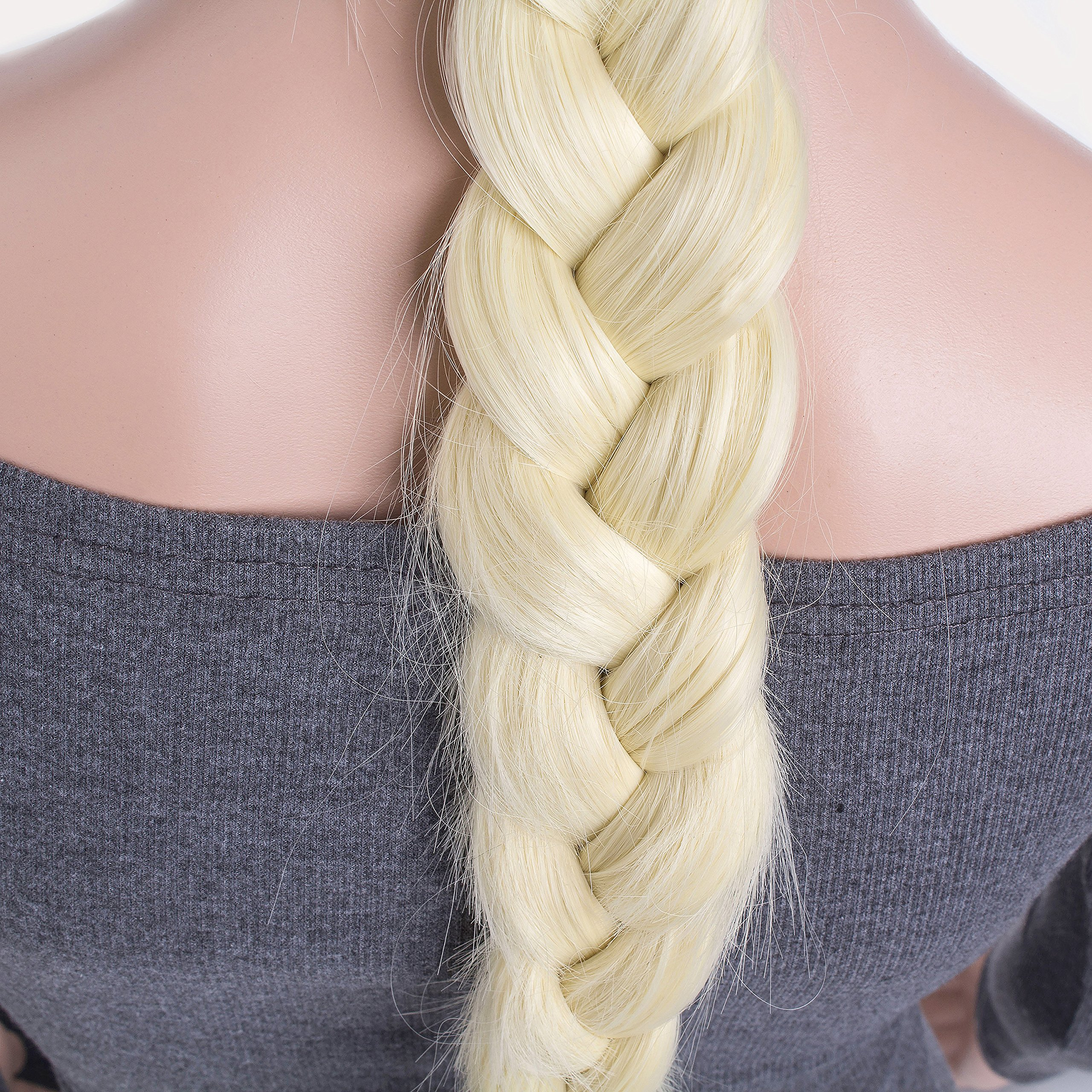 OneDor Long Braided Ponytail Cosplay Costume Light Blonde Wig by Onedor (Image #4)