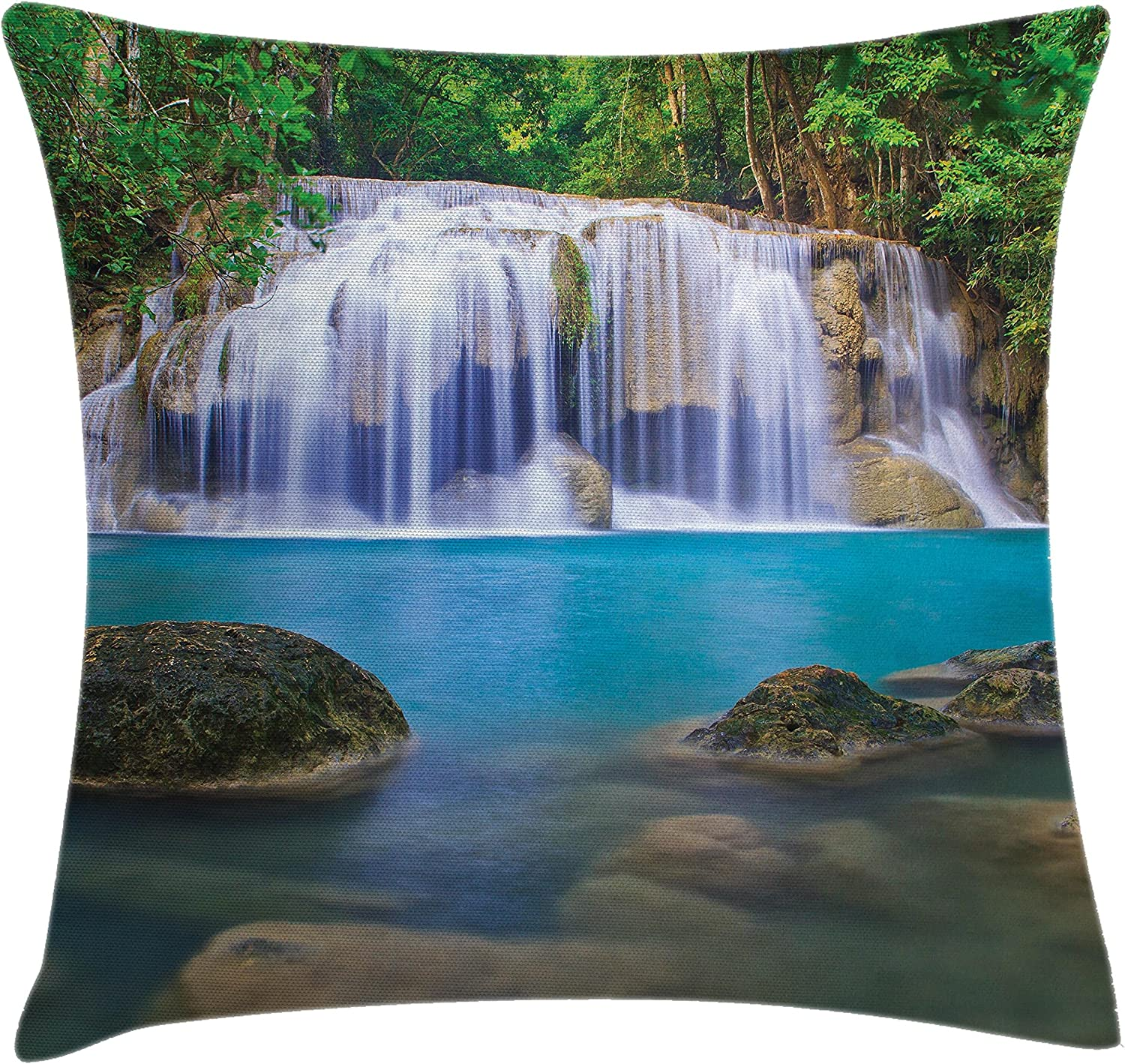 Amazon Com Lunarable Waterfall Throw Pillow Cushion Cover Falls Flowing Down By Crystal Water Secret Paradise In The Earth Print Decorative Square Accent Pillow Case 40 X 40 Multicolor Home Kitchen