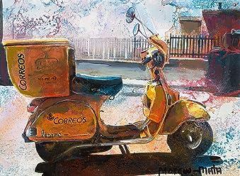 Vespa Scooter Posta Dipinto Originale