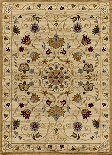 Mod-Arte Crown Collection Area Rug Contemporary Traditional Style Ivory Traditional Oriental Floral Design 5 ft 2 in x 7 ft 2 in