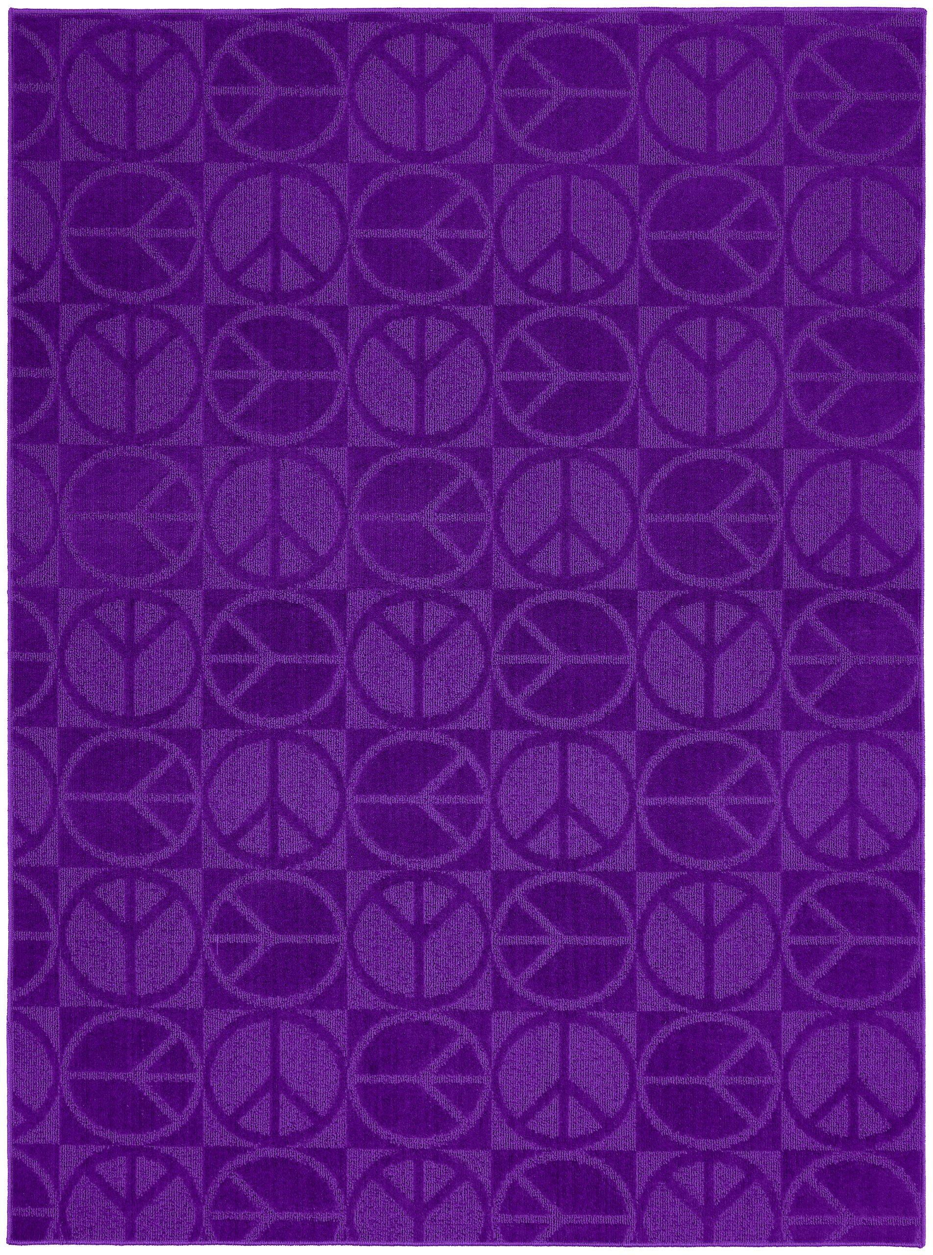 Garland Rug Large Peace Area Rug, 7-Feet 6-Inch by 9-Feet 6-Inch, Purple