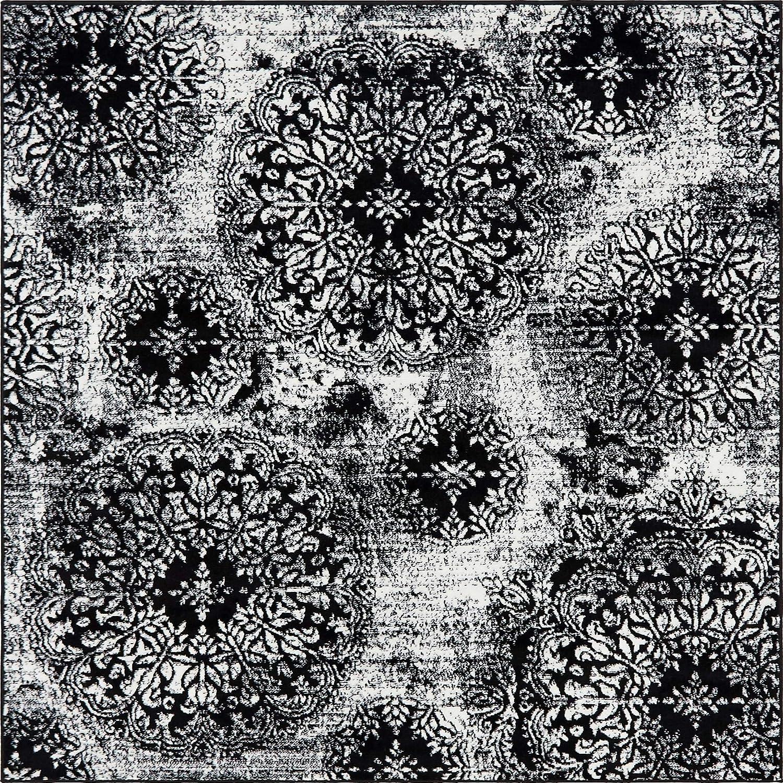 Black 6' x 6' Square Unique Loom 3141691 Area Rug, 3' x 16' Runner, orange