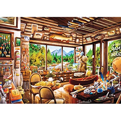 Ceaco 3161-2 Rustic Lodge Fishing Map & Guide Puzzle - 1000Piece: Toys & Games