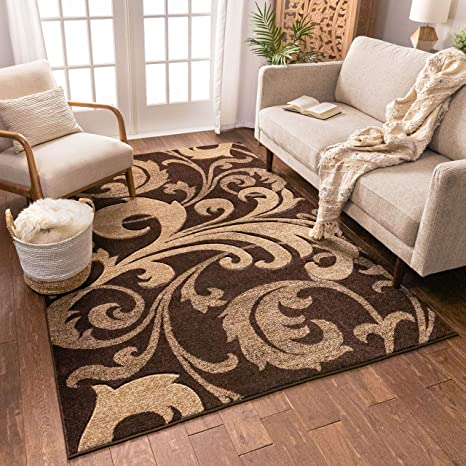 Amazon Com Melanie Floral Brown Beige Modern Geometric Comfy Casual Fleur De Lis Hand Carved Area Rug 5x7 5 3 X 7 3 Easy To Clean Stain Fade Resistant Contemporary Thick Soft Plush