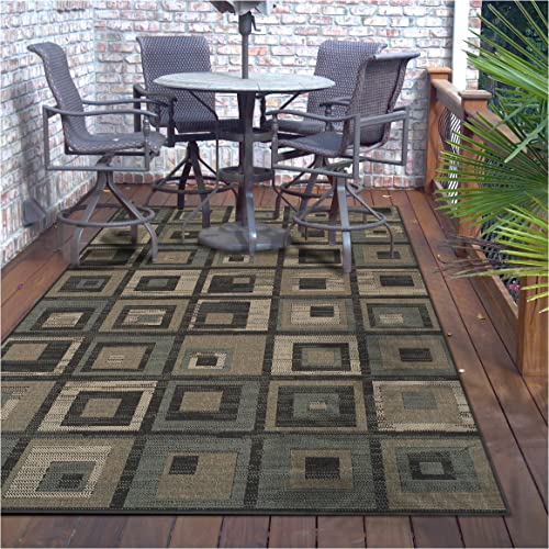 Superior Colburn Collection 8 x 10 Area Rug, Indoor Outdoor Rug with Jute Backing, Durable and Beautiful Woven Structure, Modern Grey, Beige, and Teal Geometric Design