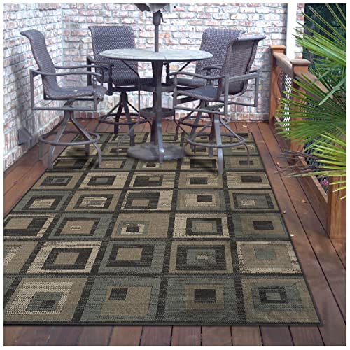 Superior Colburn Collection 4 x 6 Area Rug, Indoor Outdoor Rug with Jute Backing, Durable and Beautiful Woven Structure, Modern Grey, Beige, and Teal Geometric Design