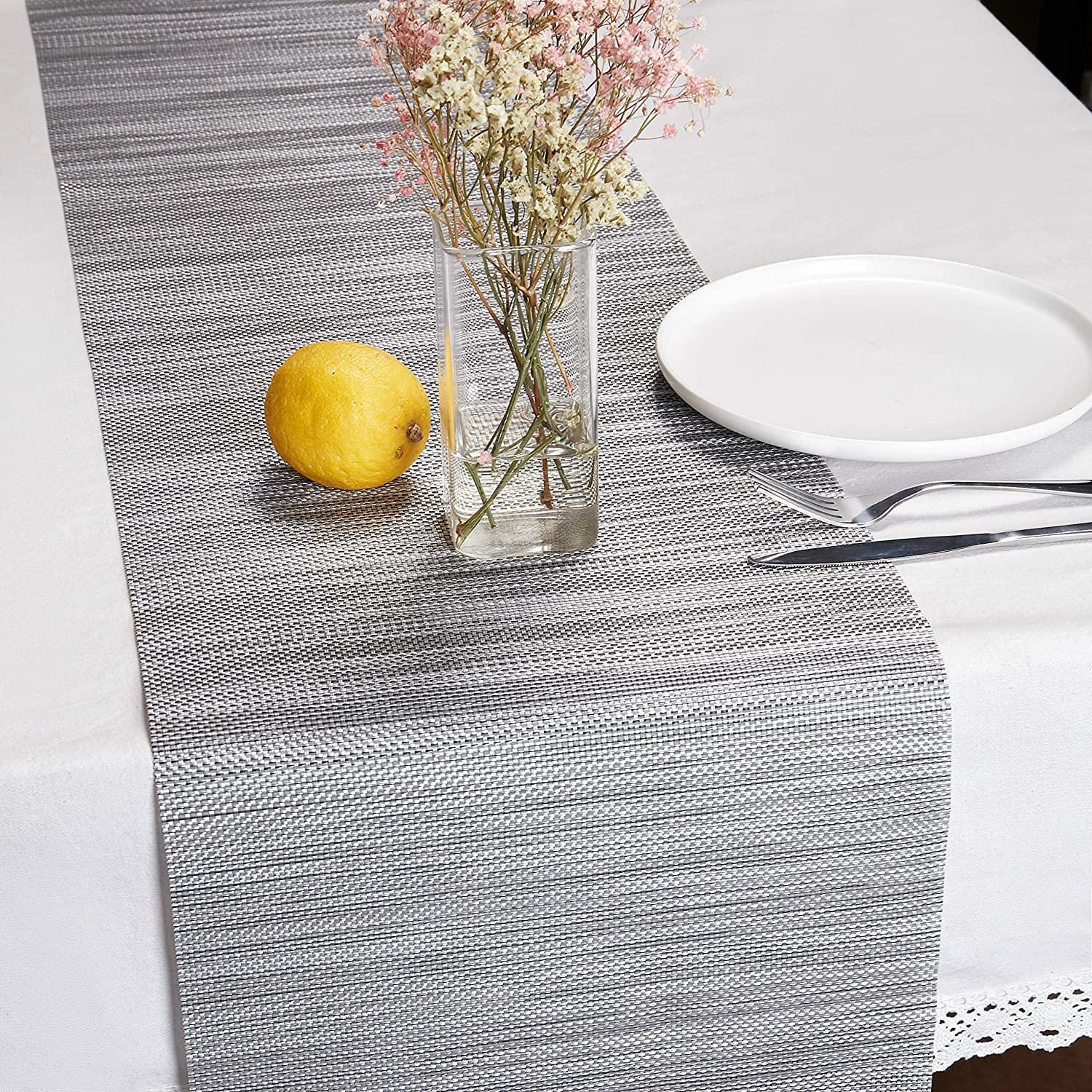 "DOLOPL PVC Table Runners 12""×72"" Non-Slip Heat Resistant Modern Table Runner for Family Dinner Office Kitchen Table in Gray"