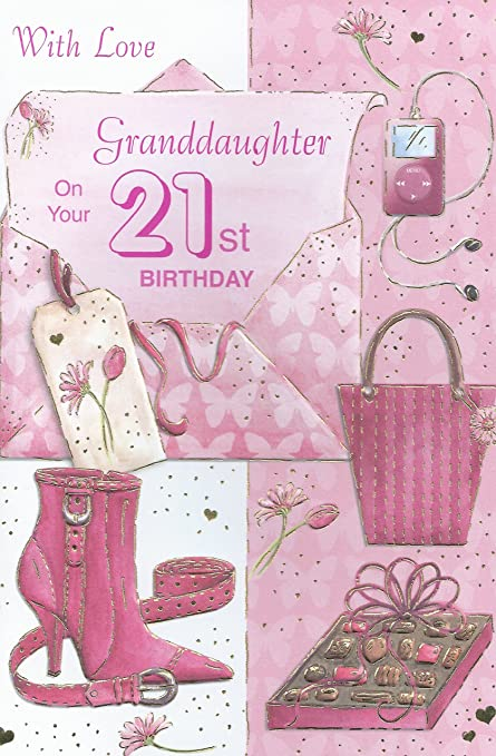 With Love Granddaughter On Your 21st Birthday Card