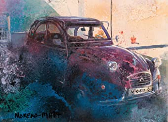Citroën 2CV Old Red Car Original Handmade Painting