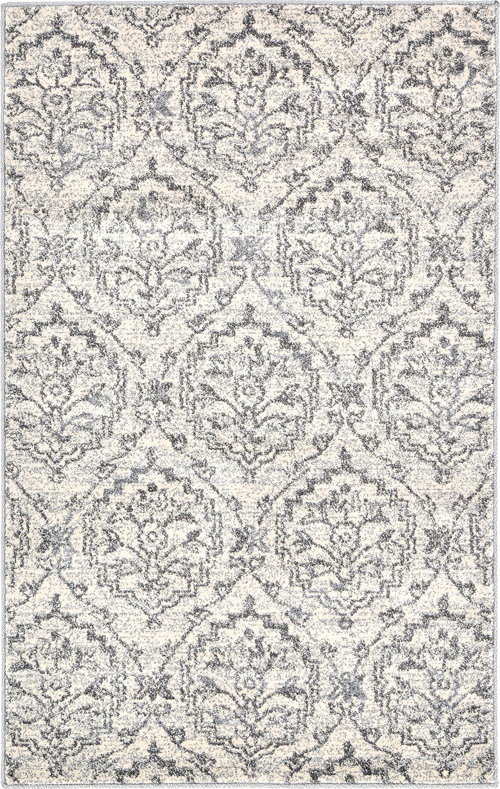 Unique Loom Damask Collection Traditional Floral Ivory Area Rug (3' x 5')