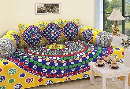 RajasthaniKart Dewaan-e-Khas Abstract 144 TC Cotton Diwan Set, Multicolour, Cloth_Dewaan_45_1
