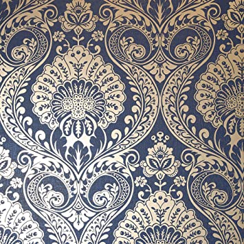 Luxe Damask Wallpaper Navy Gold Arthouse 910308 Amazon Com