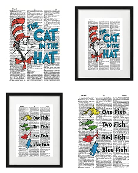 SEUSS/' CAT IN THE HAT UPCYCLED VINTAGE DICTIONARY PAGE WALL ART PRINT! DR