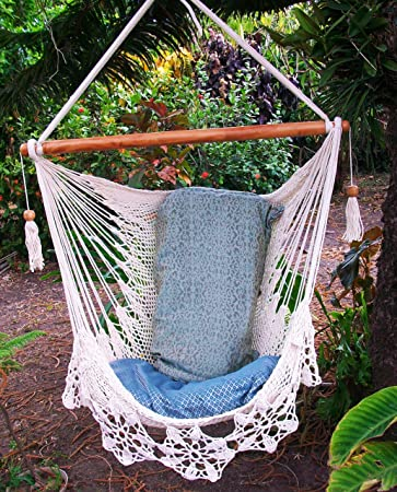 hammock chair flower crochet handmade cotton beige  indoor outdoor chair hammock  hanging chair swing amazon     hammock chair flower crochet handmade cotton beige      rh   amazon
