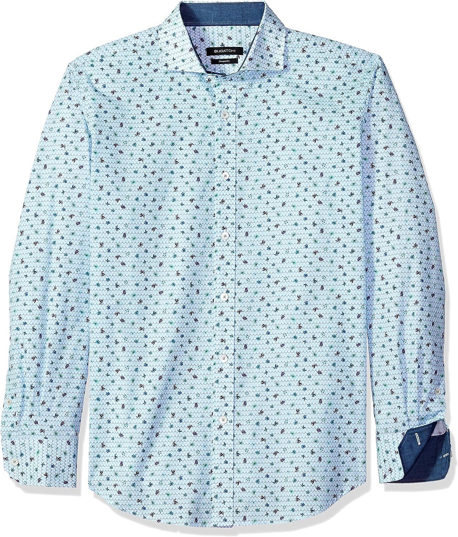 Bugatchi Mens Cotton Shaped Fit Regular Placket Long Sleeve