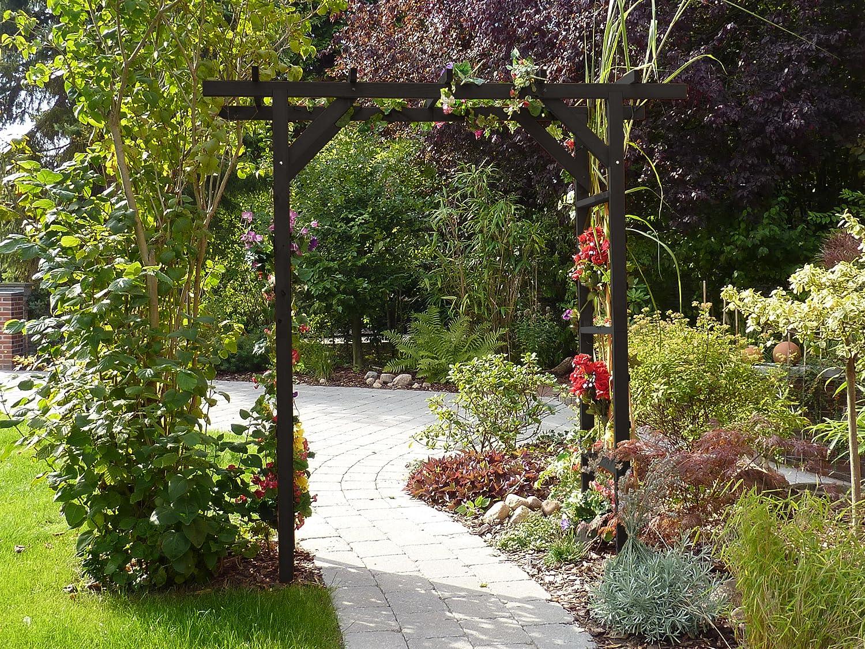 Cuadrado con parte superior plana de madera jardín arco con ...