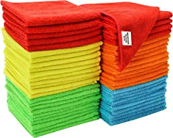 S & T 968601 Assorted Microfiber Cleaning Cloth, 50 Pack