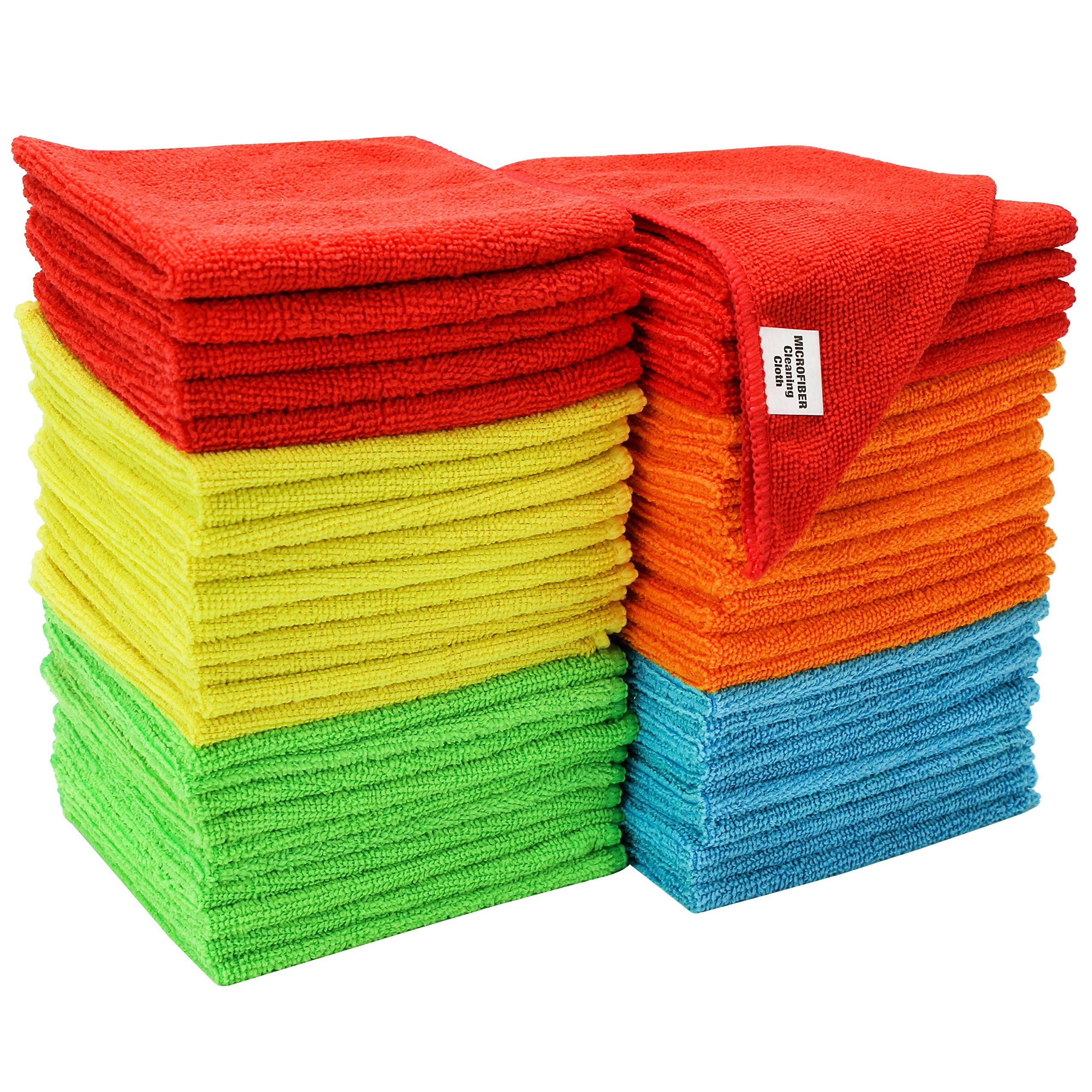 S & T Bulk Microfiber Kitchen, House, Car Cleaning Cloths - 50 Pack, 11.5'' x 11.5''