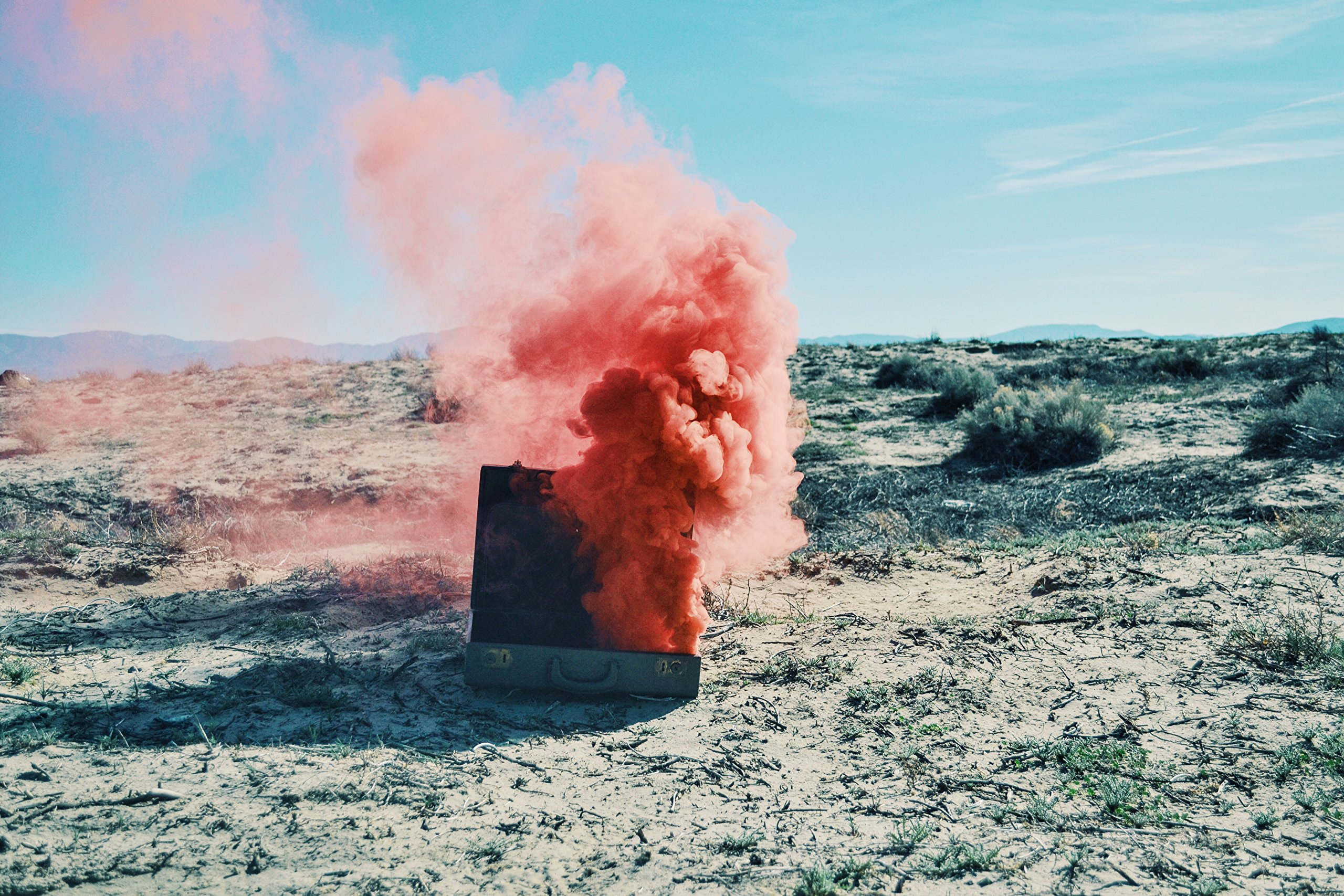 Red Suitcase And Smoke by