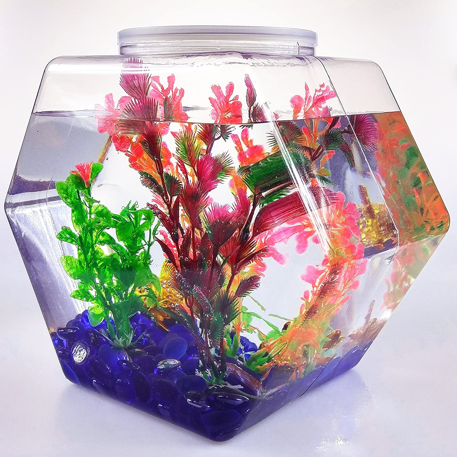 BestPolybag High Clarity Bulk Plastic Fish Bowl Hexagons, BPA-Free, Made in USA, 1/1.5/2.7-Gallon Size, One Case