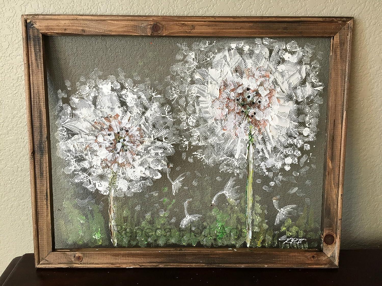Dandelion hand painted on screen,Rustic Dandelion, outdoor art,hand painting on screen