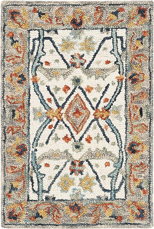 Safavieh Aspen Collection Apn308a Handmade Boho Wool Accent Rug 2 X 3 Ivory Blue Furniture Decor