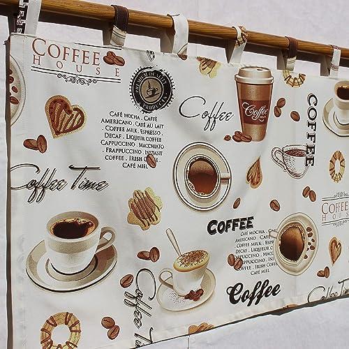Amazon Com Coffee Curtains For Kitchen Theme Decorations Beans Cappuccino Mocha Valance I Love Handmade