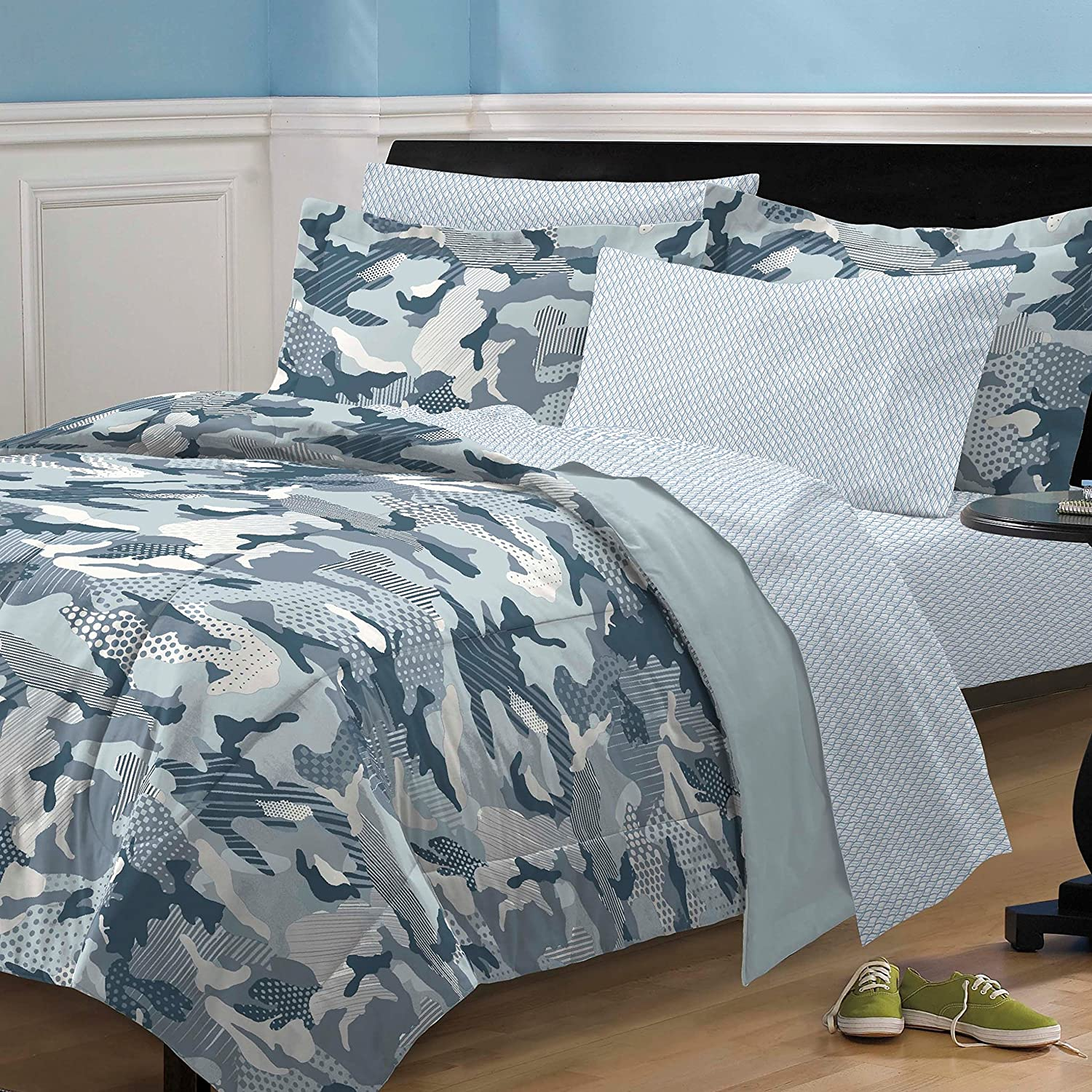 My Room Geo Camo Camouflage Comforter Set, Blue, Full