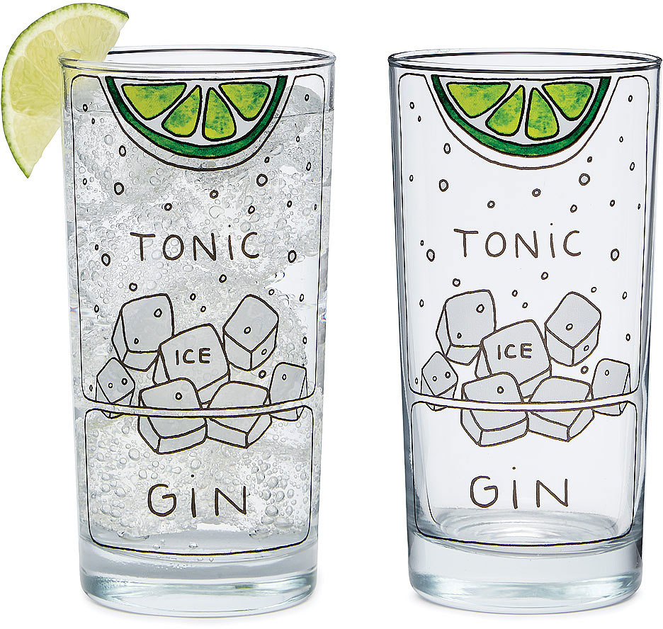 Gin and Tonic Diagram Glassware - Set of 2 | highball glass | UncommonGoods