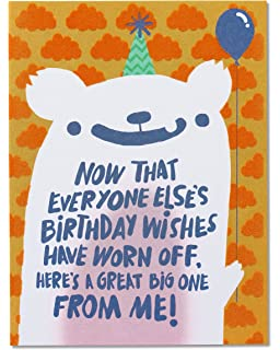 American Greetings Funny Birthday Wishes Belated Greeting Card With Flocking