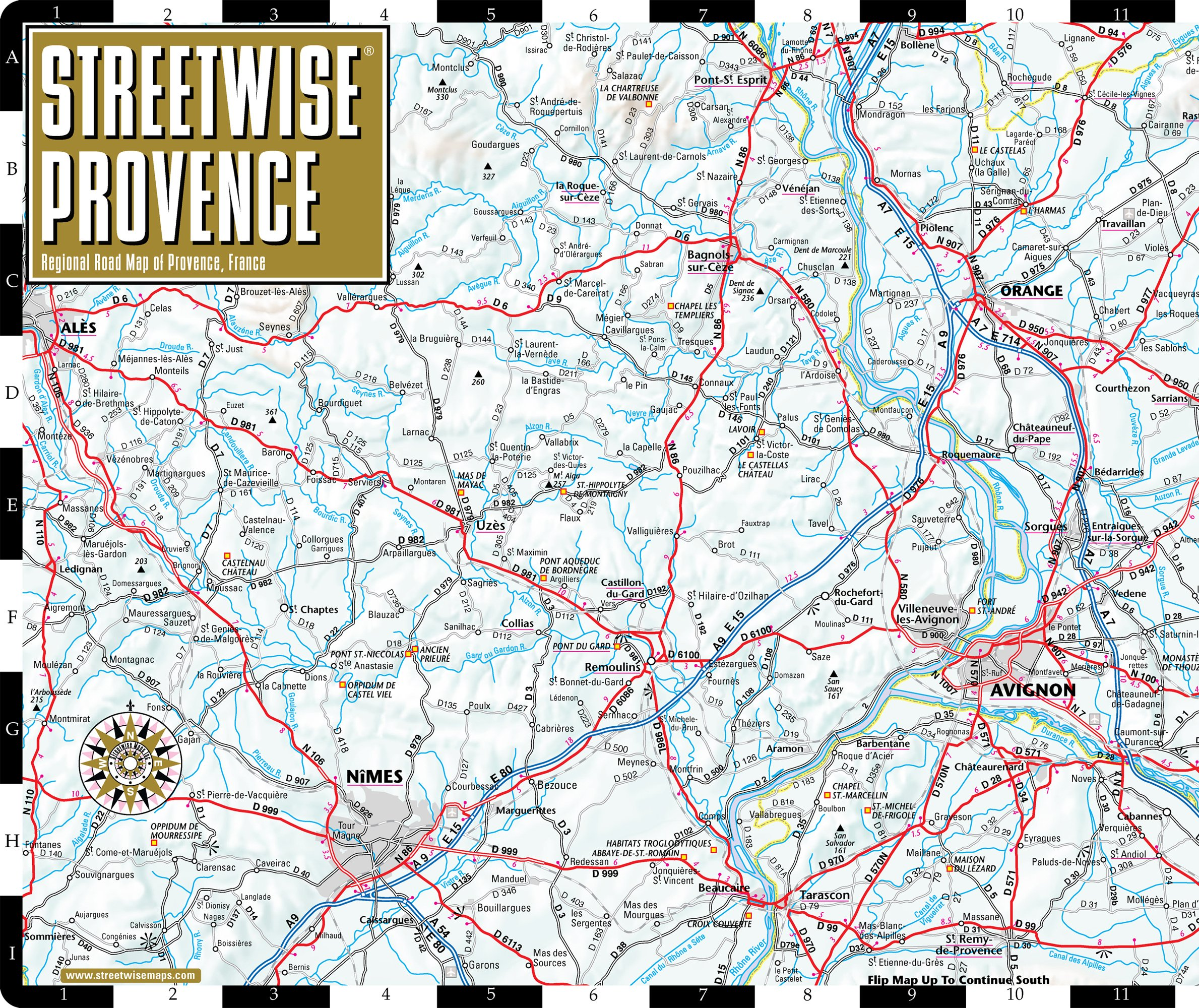 Provence Map Of France.Streetwise Provence Map Laminated Regional Road Map Of Provence